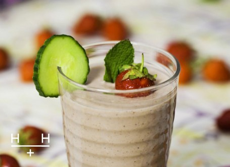 strawberry, mint, cucumber smoothie